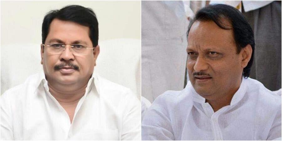 Maharashtra minister Vijay Wadettiwar (L) and deputy CM Ajit Pawar