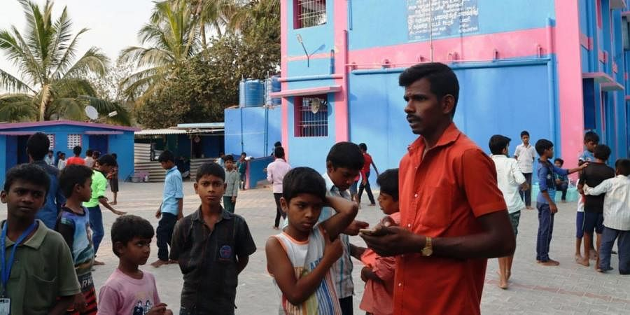 Students of a government tribal school in Tiruvannamalai