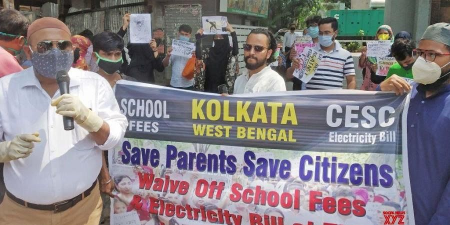 Parents stage demonstration demanding partial school fee waiver. (Photo| IANS)