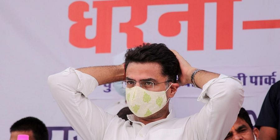 Rajasthan Congress President and Deputy Chief Minister Sachin Pilot takes part in a protest 'dharna' against hike in the prices of petrol and diesel in Jaipur Monday June 29 2020.