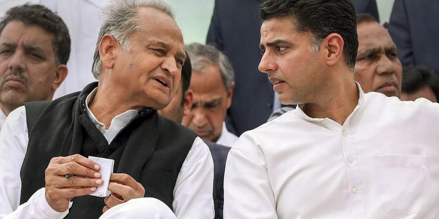 Rajasthan Chief Minister Ashok Gehlot and his deputy Sachin Pilot at a protest against the alleged opposition of tampering in reservation of Scheduled Castes and Scheduled Tribes in Jaipur Sunday Feb. 16 2020.