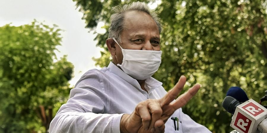 Rajasthan Chief Minister Ashok Gehlot addresses the media after visiting the State Governor at his residence in Jaipur Tuesday July 14 2020.