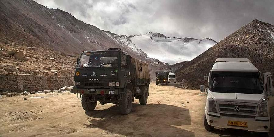 An Indian Army truck crosses Chang la pass near Pangong Lake in Ladakh region.