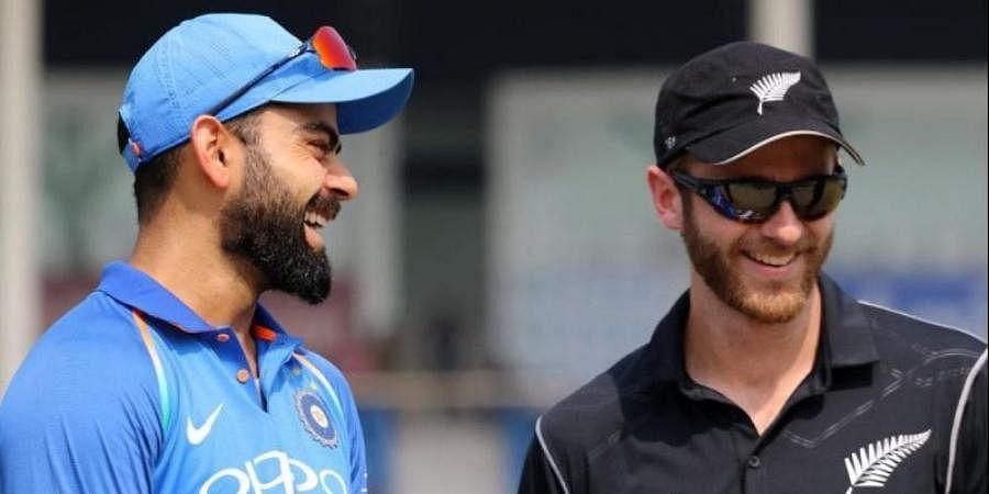 New Zealand skipper Kane Williamson (R) and his Indian counterpart Virat Kohli