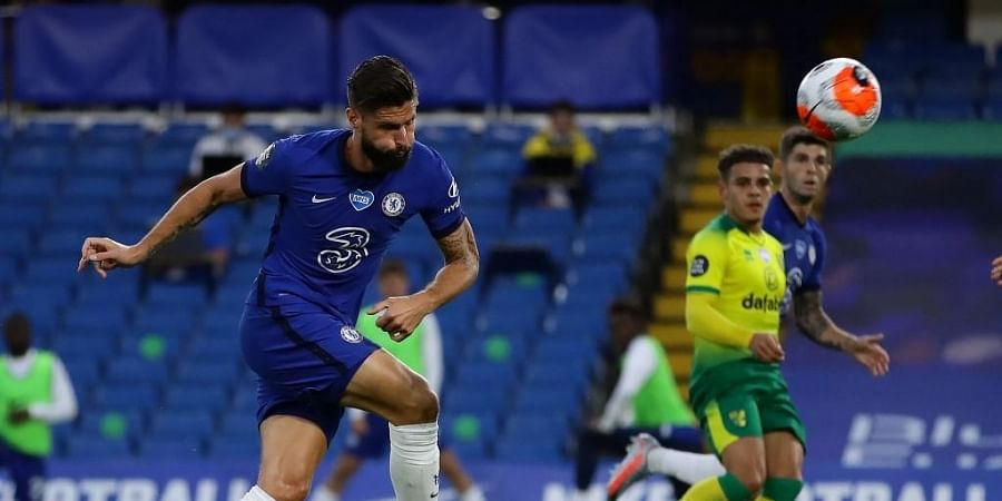 Chelsea's French striker Olivier Giroud takes a shot during the English Premier League football match between Chelsea and Norwich City. (Photo | AFP)