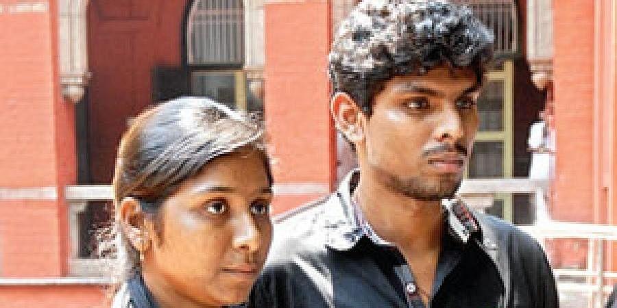 File photo Vidya Rani, daughter of slain forest brigand Veerappan, with husband Mariya Deepak on the High Court premises after their reunion.