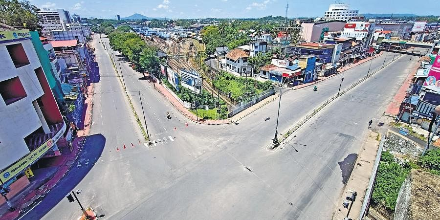 An aerial view of the otherwise busy Overbridge Junction on the second day of the triple lockdown in Thiruvananthapuram on Tuesday.