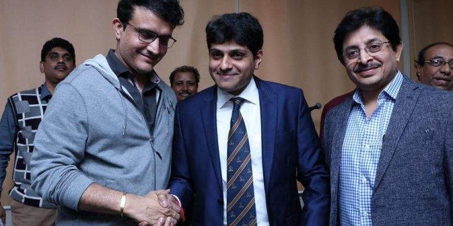 BCCI President Sourav Ganguly with president and secretary of Cricket Association of Bengal (CAB), Avishek Dalmiya (middle) and Snehasish Ganguly (right) respectively. (Photo   ANI)