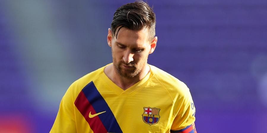 Barcelona striker Lionel Messi during the Spanish La Liga soccer match between Valladolid and FC Barcelona at the Jose Zorrilla stadium.