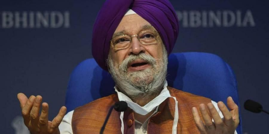Hardeep Singh Puri addresses a press conference on issues related to the civil aviation sector in New Delhi