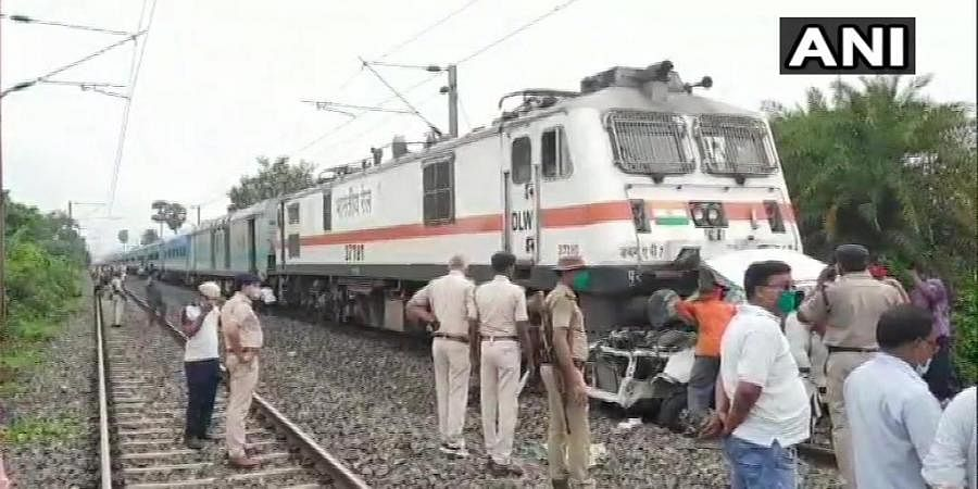 As per the press release issued by the Railways, a vehicle collided with train number 02365, Patna Ranchi Janshatabdi Special while attempting to illegally cross the railway tracks. (Photo | ANI)