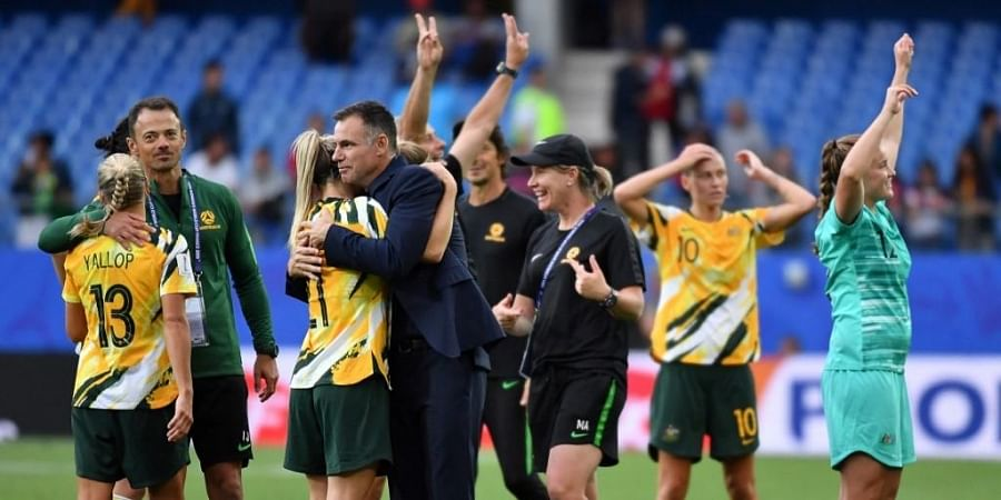 Ante Milicic (C) celebrates with his players after the France 2019 Women's World Cup Group C football match between Australia and Brazil. (Photo | AFP)