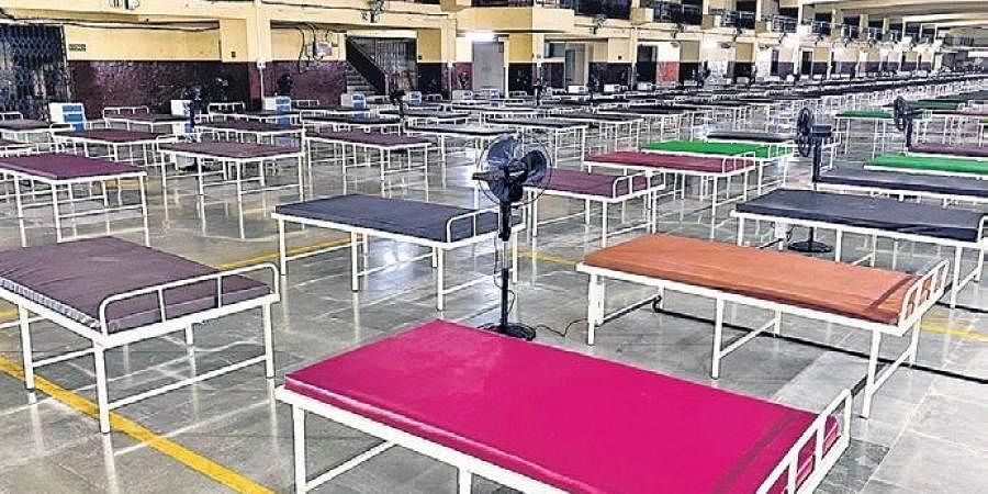 An isolation centre with 1,000 beds for Covid patients in Vasai, Maharastra