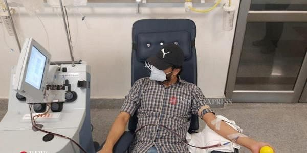 Plasma donors donate at Delhi plasma bank. (Photo| EPS)