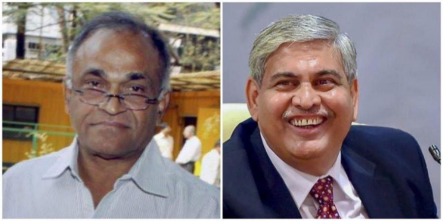 Former BCCI secretary Niranjan Shah (L) and ICC chairman Shashank Manohar