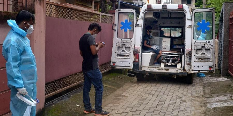 A COVID-19 patient being taken to hospital for treatment in Guwahati