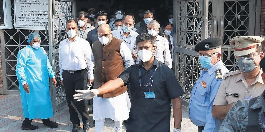 Union Home Minister Amit Shah during his visit at LNJP hospital to review Covid preparedness in Delhi.
