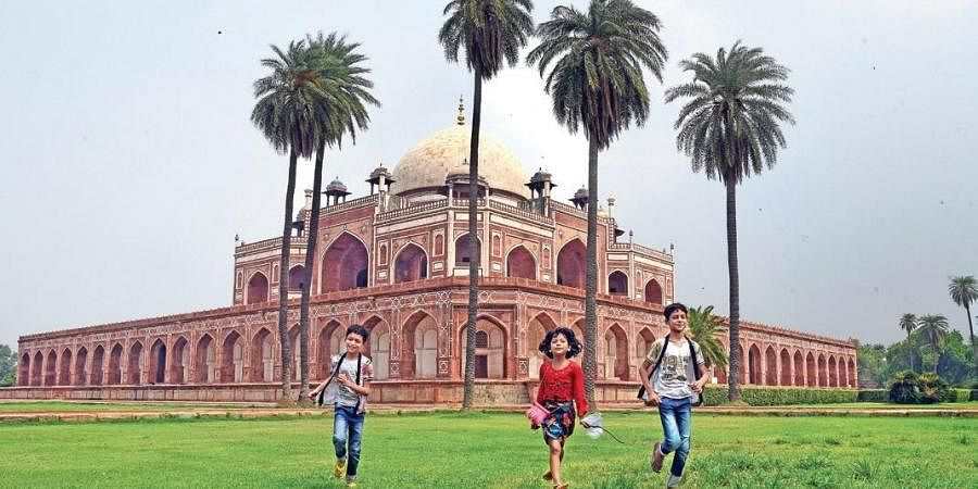 Children seen having fun at Humayun's Tomb as ASI reopens its tourists sites during the Unlock 2.0 in New Delhi.