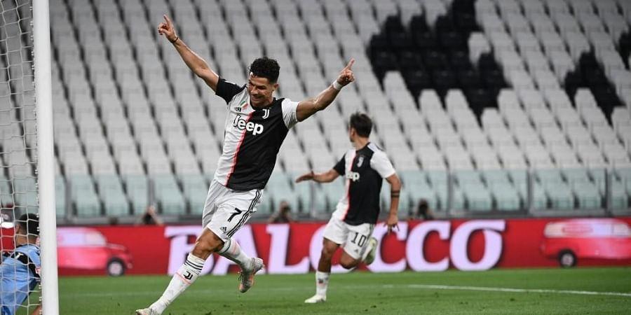 Juventus' Portuguese forward Cristiano Ronaldo celebrates after scoring a goal during the Italian Serie A football match. (Photo | AFP)