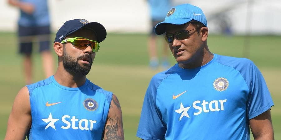 Former Indian cricket team head coach Anil Kumble with skipper Virat Kohli