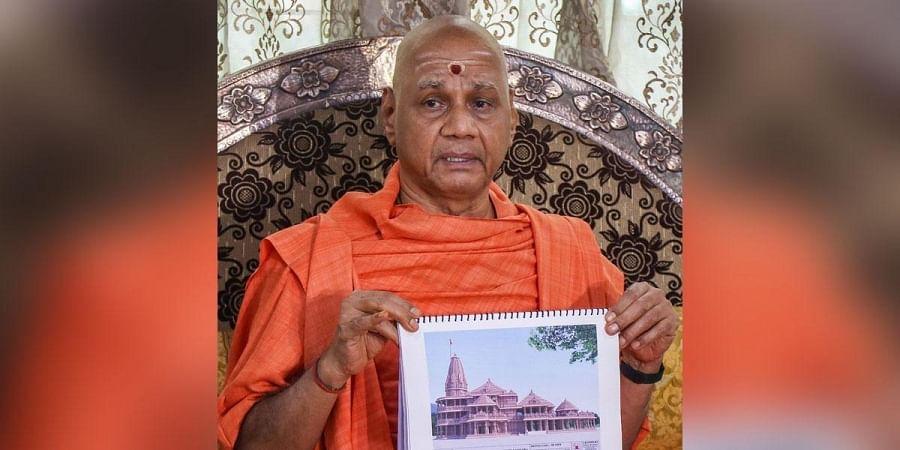 Swami Govind Dev Giriji Maharaj Treasurer of Ram Janmabhoomi Teertha Kshetra Trust speaks to the media in Pune Wednesday July 22 2020.