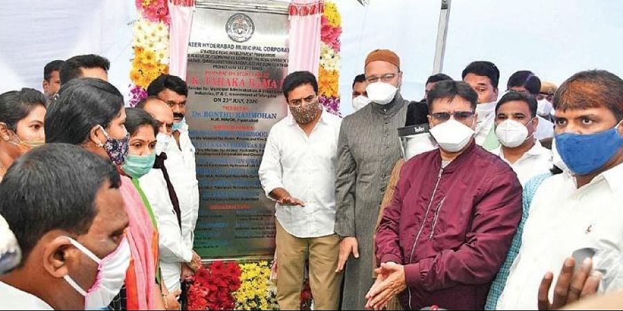 MAUD Minister KT Rama Rao lays the foundation stone for the elevated corridor from Nalgonda X-road to Owaisi Junction in Hyderabad on Thursday