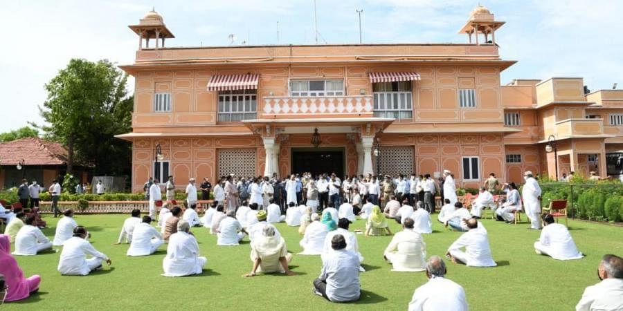 Congress MLAs in Rajasthan sit in a 'dharna' at Raj Bhavan lawns in Jaipur