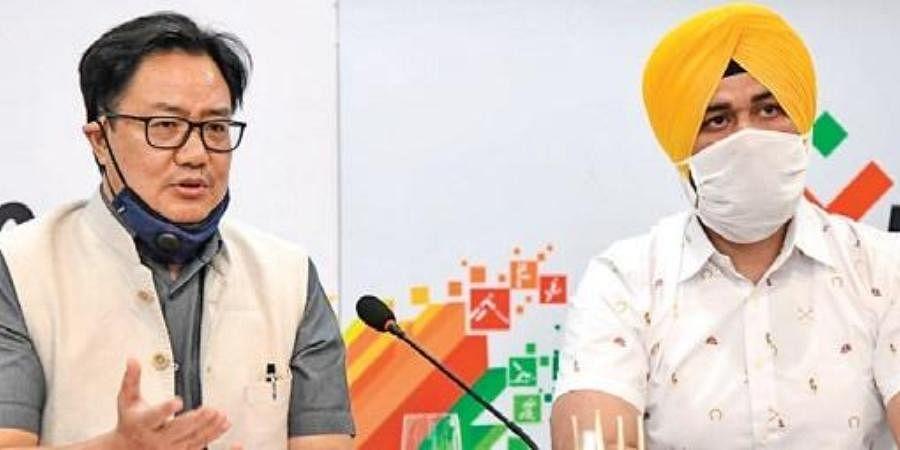 Union Sports Minister Kiren Rijiju with Haryana Sports Minister Sandeep Singh in New Delhi.