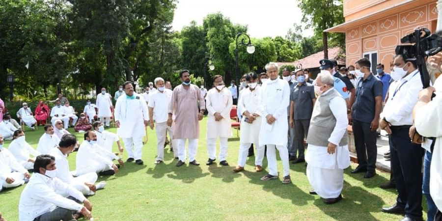 Rajasthan CM Ashok Gehlot meeting Rajasthan Governor Kalraj Mishra along with party and other supporting MLAs at Raj Bhavan in Jaipur