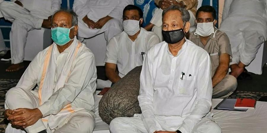 Rajasthan CM Ashok Gehlot during 'Save Democracy-Save Constitution' protest, at a hotel in Jaipur on Monday.