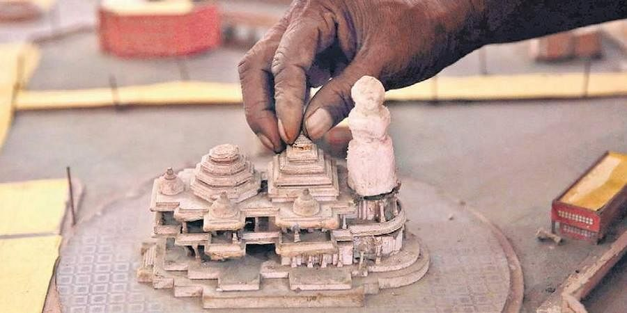 A model of Ram Mandir kept at Kar Sevakpuram in Ayodhya.