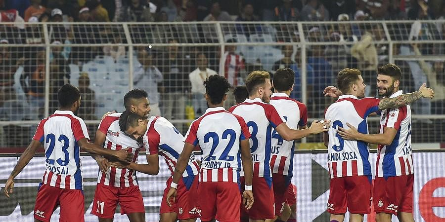 ATK Players jubilate with their teammate Pritam Kotal who scoring a goal against FC Goa during ISL Match in Kolkata. (Photo | PTI)