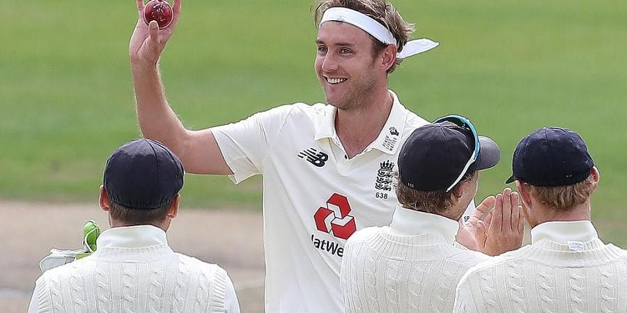 England's Stuart Broad celebrates taking the wicket of West Indies' Kraigg Brathwaite, his 500th Test wicket, on the final day of the third Test cricket match. (Photo | AFP)
