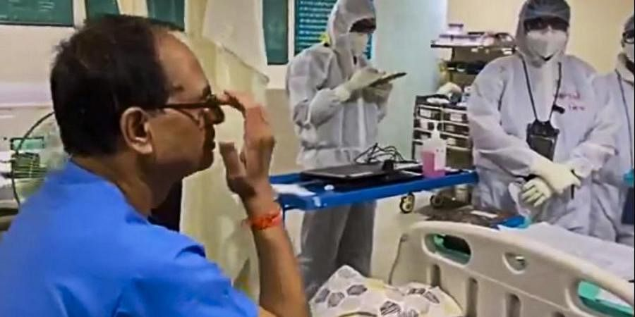 Madhya Pradesh CM Shivraj Singh Chouhan at Chirayu Hospital in Bhopal.