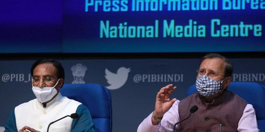 Union Ministers Prakash Javadekar and Ramesh Pokhriyal Nishank L during a press conference in New Delhi