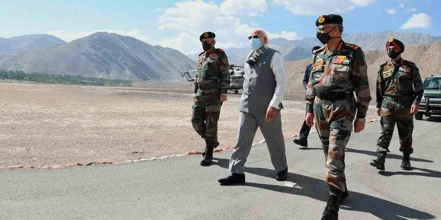 Prime Minister Narendra Modi along with Chief of Defence Staff Gen Bipin Rawat arrives in Leh