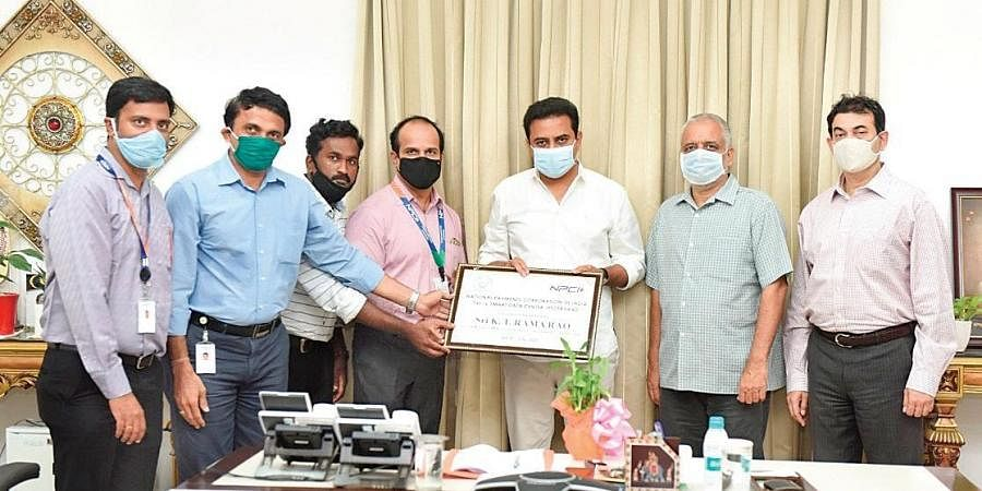Telangana IT Minister KT Rama Rao launches the Smart Data Centre of NPCI in Hyderabad on Thursday