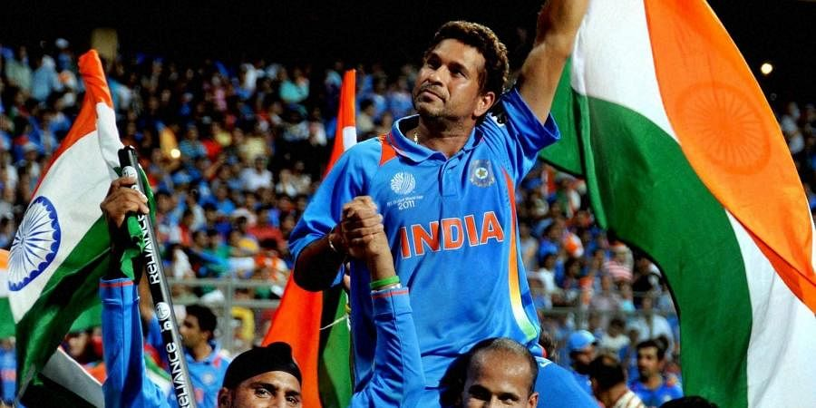 Sachin Tendulkar being carried by teammates after India won the 2011 ICC Cricket World Cup. (File Photo   PTI)