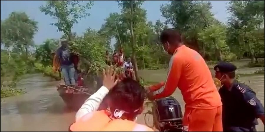 NDRF personnel rescued around 37 people in flood-hit Bhawanipur and Motihari districts of Bihar