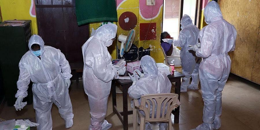 A COVID-19 testing centre in Thiruvananthapuram