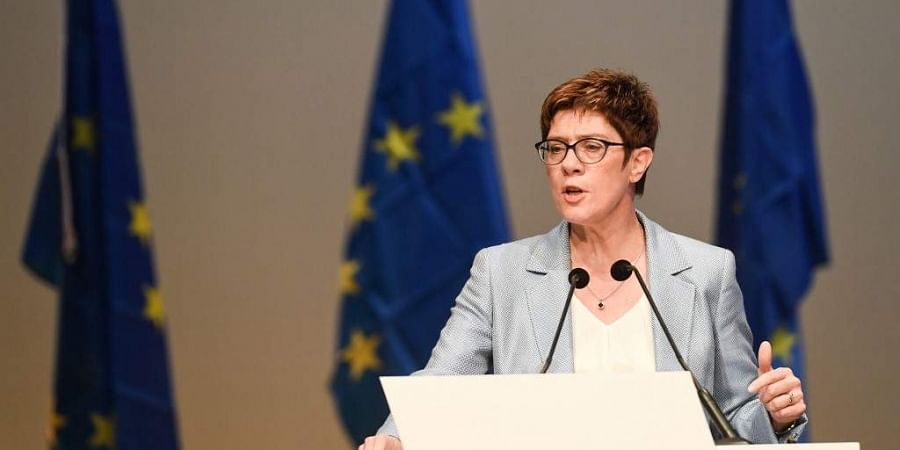 Leader of Germany's conservative CDU party Annegret Kramp-Karrenbauer gives a speech during the last pre-European elections meeting of the European People's Party in Germany.