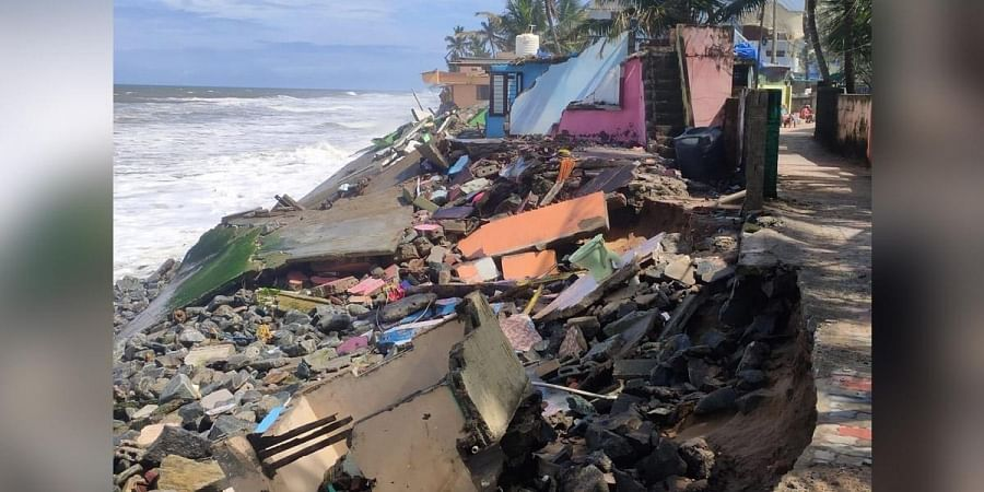 The house which got damaged in the strong waves
