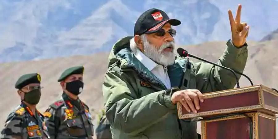 PM Narendra Modi addresses the Indian troops during his visit to the forward post in Ladakh.