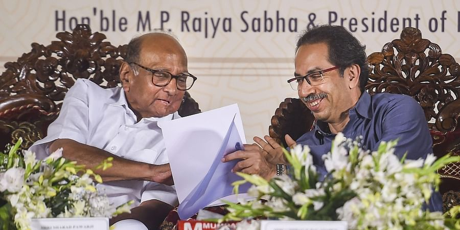 NCP leader Sharad Pawar (L) and Maharashtra Chief Minister Uddhav Thackeray (R)