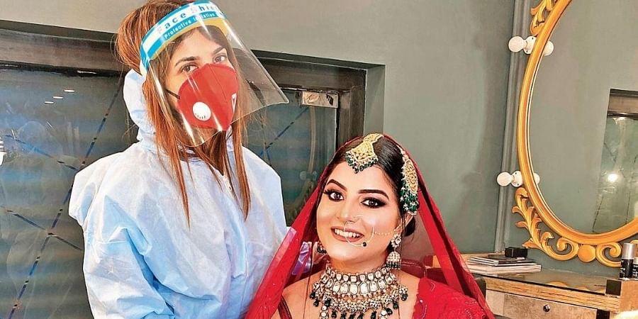 Makeup artist Guneet Virdi with a bride