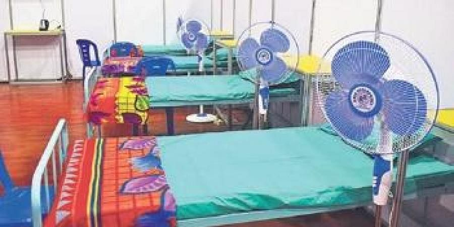 Beds for Covid patients at Kanteerava Indoor Stadium