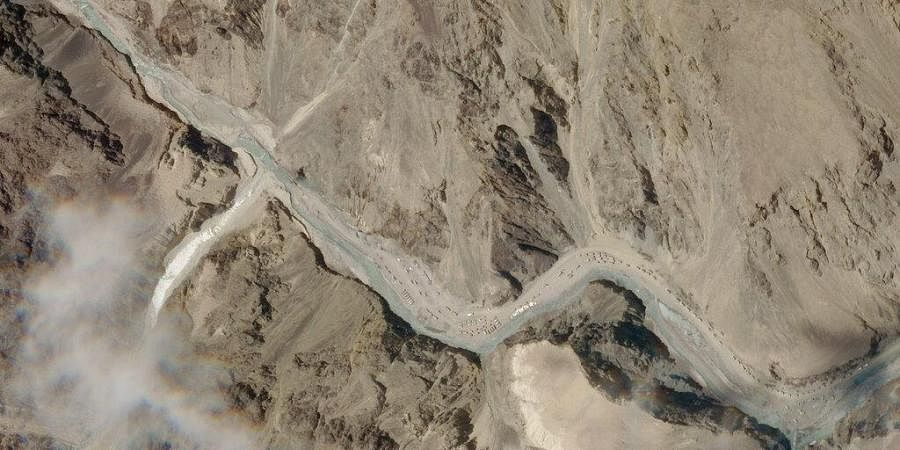 This satellite photo provided by Planet Labs shows the Galwan Valley area in the Ladakh region near the Line of Actual Control between India and China Tuesday, June 16, 2020