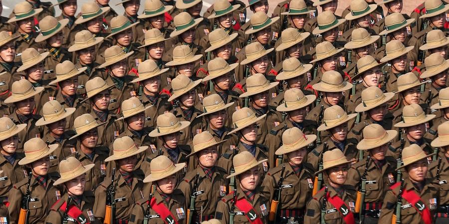 Contingent of the Gorkha Rifles regiment marches at Rajpath during the 70th Republic Day Parade in New Delhi