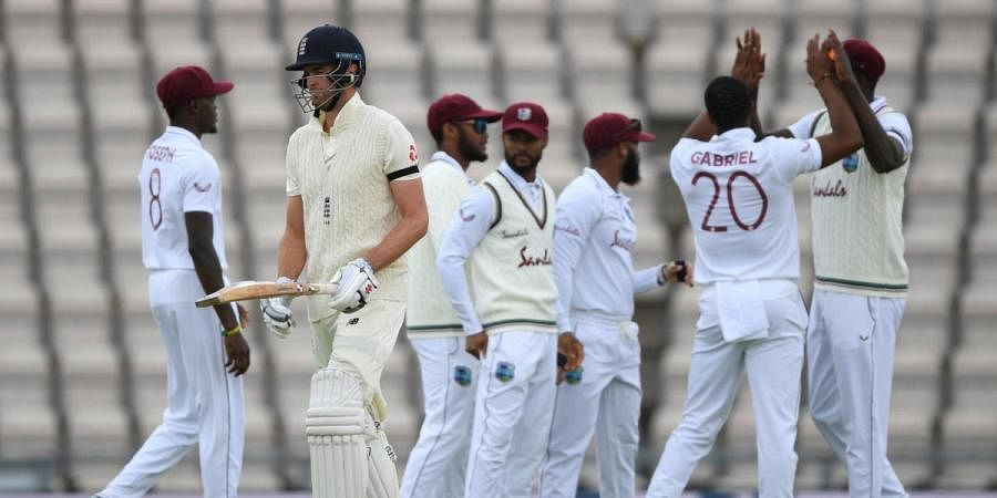 England's Dom Sibley leaves the field after being dismissed by West Indies' Shannon Gabriel,  during day one of the first Test match, at the Ageas Bowl in Southampton, England