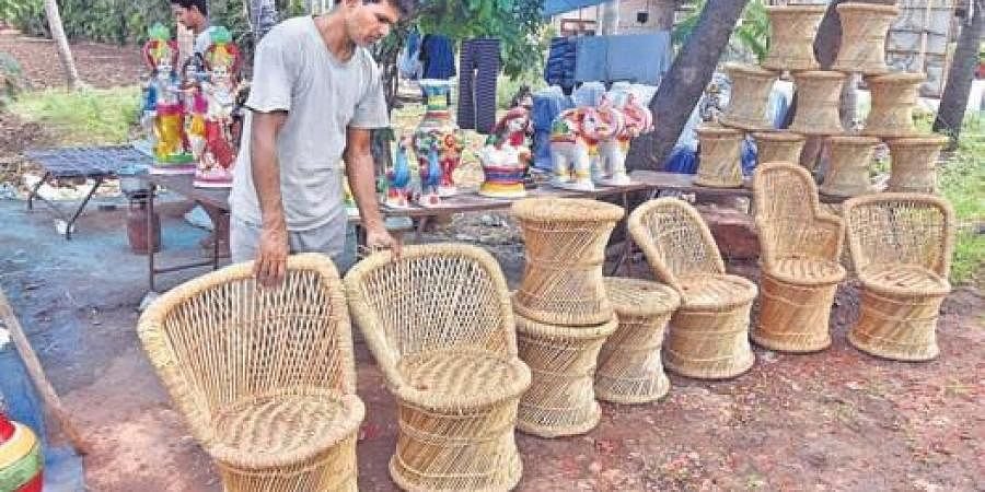 Shivam Dutt with his furniture at Poranki in Vijayawada | P RAVINDRA BABU